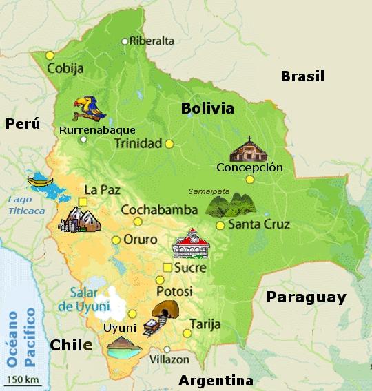 Carte Bolivie, voyage Bolivie